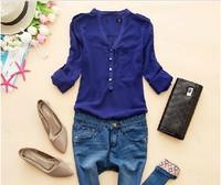 happy SZ  women spring V-neck chiffon elegant all-match solid botton casual spirals shirt blouse white blue black  NCS001
