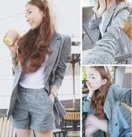 2013 small fresh elegant suit cloth fabric short jacket blazer shorts set