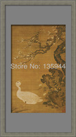 Handpainted Decorate PS Frame Spray Art Chinese Landscape Red-peak Red-crowned Red-crowned Crane Duck Painting Drawing Paint