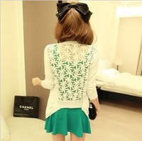 2013 slim flower lace patchwork sunscreen thin knitted small cardigan