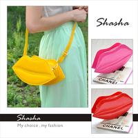 kiss bag new 2014  fashion candy color red lips bag  fashion little women's cross-body handbag designer brand lady summer jelly
