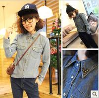 Women's long-sleeve medium-long denim outerwear rivet denim shirt female