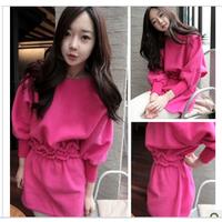 2013 solid color sweet ruffle hem slim waist o-neck elegant one-piece dress