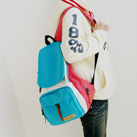 2013 spring color block canvas backpack school bag backpack