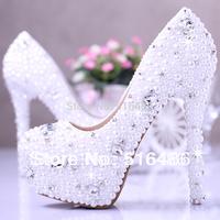 New arrival Elegant rhinestone pearl wedding shoes high heel platform banquet party shoes ladies white princess pumps handmade