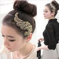 Korean fashion Colorful beads Cloth art phoenix wings temperament hair clasp Freeshipping/Wholesale HL14006