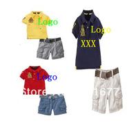 2 Pcs Fashion Brand Knight Embroidery Logo Short Sleeve Cotton Polo shirts + Pants Kids Outerwear Children Clothing Set 6#090901