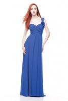 A-Line One Shoulder Zipper Up Floor-Length Ruched Chiffon Bridesmaid Dress HWGJBD14
