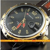 2013 new authentic fashion casual handsome mature man belt quartz watch calendar watch
