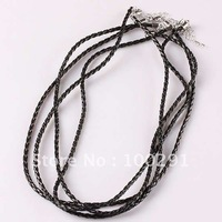 Free ship!!! 100pcs/lot Braided leather Necklace Choker with extension chain Braided leather Necklace