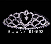 Wedding Party Bridal Tiara Crown Crystal Rhinestone Heart Love Hair Comb