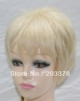 Capless 100% Real Human Hair Blonde Short Straight Hair wig