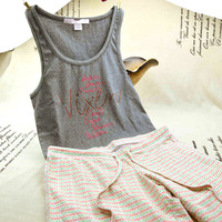 2013 fashion high-elastic pure cotton vest 8 - 9 pants casual at home set sleepwear female