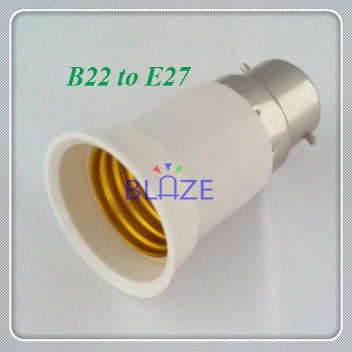 200PCS LED Halogen CFL Light Lamp Adapter B22 to E27 Bayonet Socket to