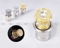 Free shipping # 12V Crystal Rhinestones Car Power Plug Socket Output 20mm Cigarette Lighter Ignition Gold/Silver/Black - CA01398