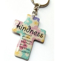 """20 pcs Cute Christian religious Key ring Cross Key Chain Small gift accessories Keychain  """" Kindness """""""
