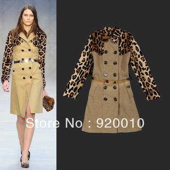 Free Shipping 2013 New Winter Women's Leopard Outwear Female European American Print Long-sleeved Woolen Overcoat Trench Coat
