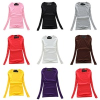Free Shipping 2013 Women's T Shirt Casual Round Neck Mixed Long Sleeve T-Shirt 8 Colors Ladies T Shirts