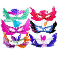 Free shipping Wholesale Fashion Halloween masquerade masks Child Adult Wedding party mask Feather masks Half a face masks 80 pcs
