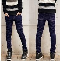 2013 slim skinny pants male Men casual jeans trousers black male