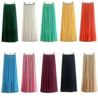 Fashion New Chiffon Beach Skirt Sweet Wind Double Pleated Skirts