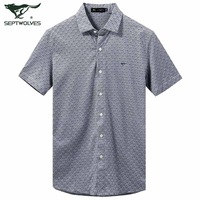 2.8 199 ! SEPTWOLVES short-sleeve shirt slim 100% cotton fashion summer new arrival 2248