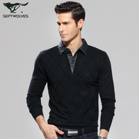 Autumn new arrival 2013 SEPTWOLVES sweater shirt collar casual male sweater men's clothing 1045