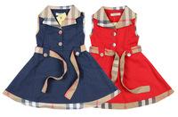 Girls red brand dress Summer kids plaid 100%cotton dress with belt fit 2-6yrs childrens sleeveless dresses free shipping