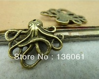 Wholesale Fashion Bronze Vintage Charms Mini Small Octopus Fish Pendants DIY Jewelry Findings  Free Shipping 100pcs 24*21mm Z522