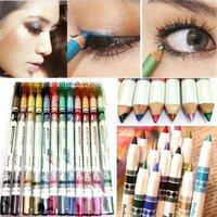 12pcs/lot 12 Colors Waterproof Plastic Glitter Emerald Eyeliner Lipliner Lip/Eye Liner Pencil MakeUp