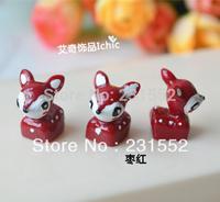 wholesale 50pcs red supernova cute resin 3 D deers fox cabochons diy crafts and scrapbooking sculpture phone decoration
