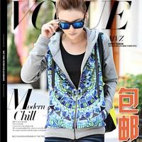 The most 2013 sweatshirt female long-sleeve silk patchwork print autumn and winter velvet women's outerwear