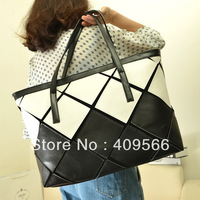 2013 watercubic new fashion women's handbag pu leather high quality shoulder bag totes black white 5-colors for grils