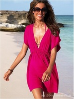 Free shipping!!!) Solid color deep V-neck beach dress one piece dress Bikini Dress B0021