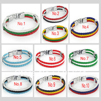 National Flag Style Braided Rope Surfer Faux Leather Bracelet Bangle Wristband Multi-colors Optional Zebra Strand