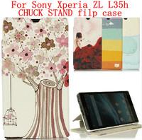 24 species pattern CHUCK STAND case flip cover for Sony Xperia ZL case Xperia ZL cover Sony L35h case flip case