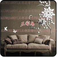 Wholesale Ikea Style Acrylic 2mm thick three-dimensional crystal Mirror Wall Sticker Wall Decor Wallpaper Home Decor