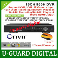 16ch D1 Real time Recording playback Full 960H with 1080P HDMI Output Hybrid dvr NVR  free shipping