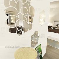 Wholesale Luxury Ikea DIY Acrylic 3D Wall Mirror Stickers 96*67cm Mirror Embossed Mirror Home Decoration Wall Art big Flowers