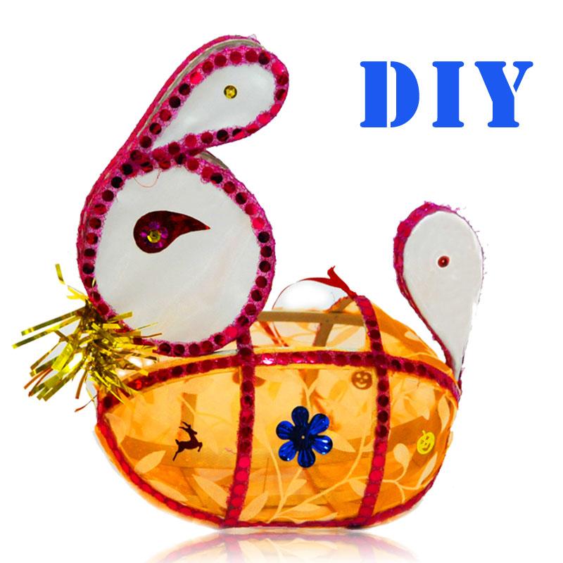 Handmade lantern diy material kit festive lights lotus lamp rabbit lamp electronic candle(China (Mainland))