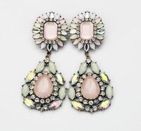 Minimum Order $20 (mixed order)  fashion cherry powder rhinestone flower earrings