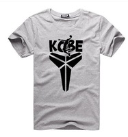 Free shipping No. 24 kobe Gray sports  men's short sleeve Plus size Basketball T-shirt accept custom design