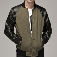 Wholesale Price Patchwork Pu Leather Jackets For Men Fashion Mens Jackets and Coats