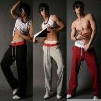 2 sports style color block men's wei pants casual pants male slim sports pants male