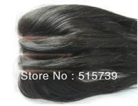 Free shipping! Silk Base Lace Closure!3 WAY PART silky straight virgin peruvian hair silk base top closure #1b