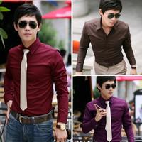 2013 autumn salaryman slim basic shirt business casual shirt male solid color long-sleeve shirt male