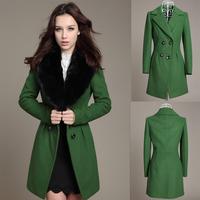 2013 ultralarge autumn and winter rabbit fur wool slim wool coat wool overcoat long design woolen trench outerwear