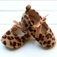 Hk spring and autumn baby skidproof toddler shoes leopard print cloth-soled princess shoes baby shoes