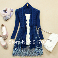 BIG DISCOUNT high quality women's sweet princess ruffle collar no button slim lace embroidered patchwork medium-long cardigan