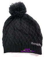 free shipping Ben c  black hair ball line cap knitted hat winter hat